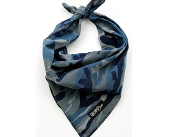 Navy Blue Camo Summer Dog Bandana Traditional Knot Tie Accessory Small Medium Large 'Steel Camo'