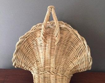 Vintage Wicker Flower Basket, Shabby Cottage Farmhouse Basket, Gathering Basket, Decorative Basket, Fan Shaped Basket, Gift Basket