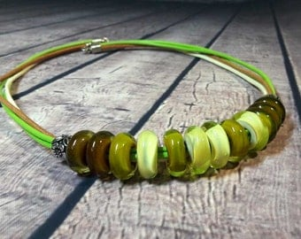Lampwork Necklace Murano beads Lampwork glass beads handmade   Lampwork Jewelry Lampwork beads leather cord Beads olive, green, marsh.