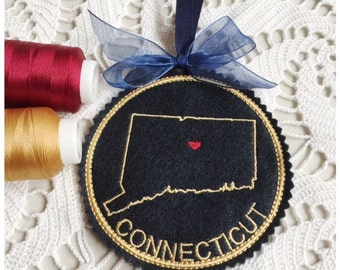 I Heart Connecticut Coaster and Ornament Machine Embroidery Design Instant Download I Love Connecticut with Positionable Heart