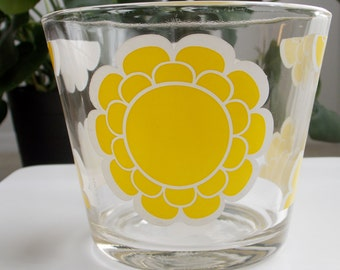 Glass Ice Bucket Yellow White Floral Mid Century Modern Desk Accessory 1960s Colony Glass