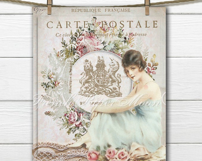 Shabby Chic Digital Victorian Woman, Royal Mail Download, French Postcard Digital Print, French Pillow Image Transfer