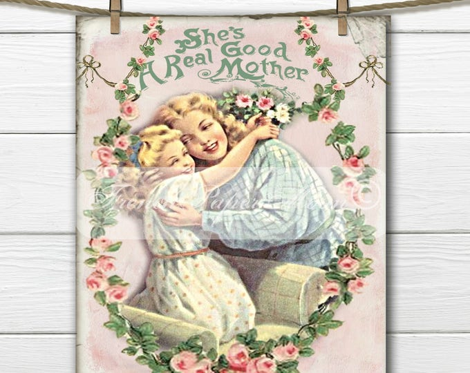 Shabby Chic Mothers Day, Instant Digital Download, Printable Graphic Transfer Image, Mother's Day Crafts