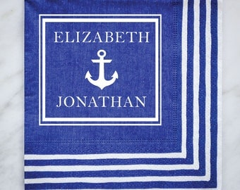 Nautical Striped Border Personalized Napkins, Custom Party Napkins, Striped Border Napkins, Custom Anchor Napkins, Striped Napkins