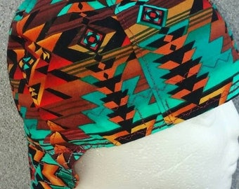 Turquoise  Wild Zig Zag Native print Welding Cap--Exact pattern varies with each cap.