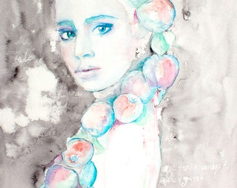 Original Watercolor Painting. Portrait of young lady. Тhe girl with the apples