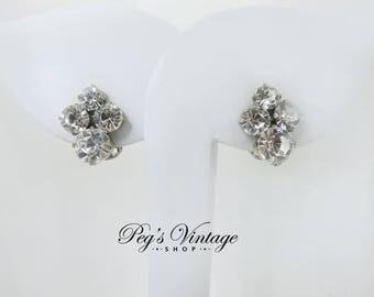 Vintage Clear Rhinestone Clip On Earrings, Silver Tone Crystal Wedding Jewelry