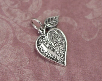 Sterling Silver Apple Heart Charm – Silver Heart Jewelry – Sterling Silver Heart Charm – Sterling Silver Apple Charm – Sterling Silver Charm