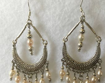Freshwater Pearl Chandelier earrings on Sterling Silver Wires