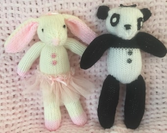 Hand Knit Pattern Bunny & Panda Toy