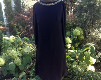 1960s Black Dress || Vintage Black Crepe Rhinestone Dress