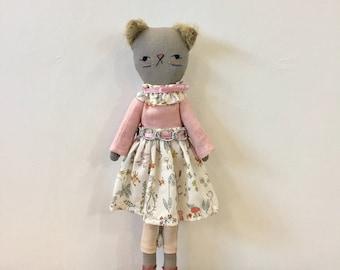 Cat doll- Kitten doll- Linen doll-Zakka