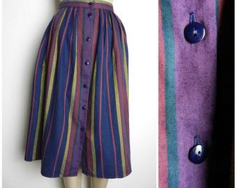 Sale 70s stripy COTTON polyester button down midi skirt pockets pink green indigo gold u.k. 10 - 12 M SM