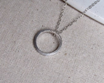 Silver Link Necklace, Simple Silver Pendant, Handmade Silver Necklace, silver circle necklace, round silver pendant, circle pendant,