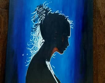 Lady in Blue pensive young woman painting by Pamela Henry blues silhouette profile contemporary wall art wall decor