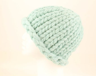 Chunky Cashmere Knit Hat, Hand Knit Cashmere Hat, Upcycled Cashmere Hat, Warm Cashmere Beanie, Thick Cashmere Hat, Light Robin Egg Blue