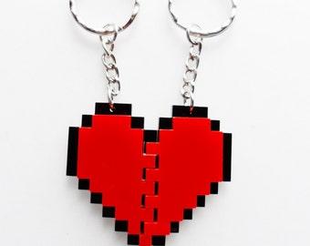 Pixel heart keychain set