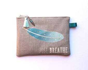 """Blue feather"" illustrated natural linen wallet"