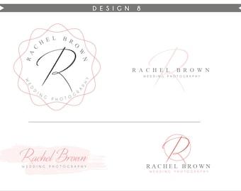 Watercolor Logo Design Branding Package Inc. Photography Logo Watermark - Rose Pink Script fancy brush blog style Watercolor Logo- Logo 8