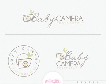 Baby camera logo - newborn photography studio branding kit, logo template customized, modern font style, plain abstract baby face camera