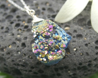 Druzy Necklace, Wire Wrapped Rainbow - Crystal, Druzy, Pink, Petite, Silver Necklace