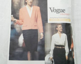 Vogue Career American Designer Anne Klein II Size 12 14 16 TALL Sewing Pattern 2433 CUT 1990s Misses' Jacket, Skirt Blouse Vintage