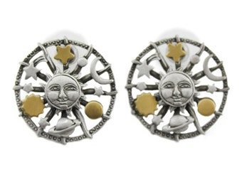 Vintage JJ Sun Earrings, JJ Celestial Earrings, JJ Pewter Sun Earrings