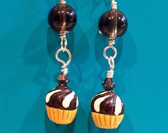 Smoky Quartz Cupcake Earrings