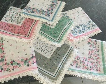 Inexpensive  hand crocheted edge  cotton hankdkerchiefs for every day use.