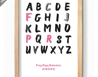 Personalised alphabet name  print | educational art nursery |  printable art | Nursery decor | personalised alphabet | DIGITAL DOWNLOAD ONLY