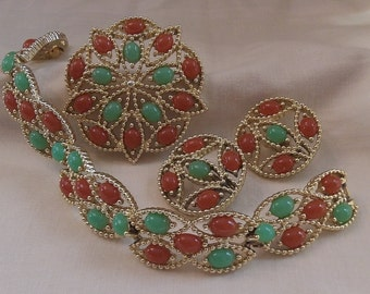 Sarah Coventry Acapulco Bracelet 9275, Clip Earrings 7275 and Pin 6275 Set   Vintage, Golden