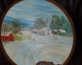 Vintage Hand Painted Wooden Bowl Vermont