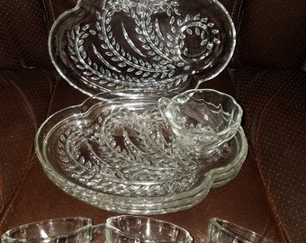 Vintage Clear Glass Luncheon Set for 4