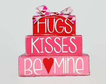 Hugs Kisses Be Mine Heart Valentines Day Decor Gift Husband Wife Boyfriend Girlfriend Red Pink