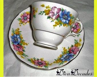 vintage Colclough china , teacup and saucer , vintage china teacup , floral teacup , vintage housewares , English china , multi coloured