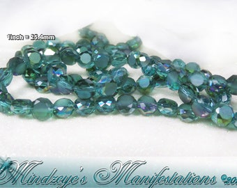 50 Electroplated & Frosted Flat Round Teal Beads 6mm