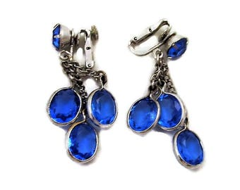 Blue Crystals Coro Clip Earrings Dangly Vintage Silvertone Collet Set