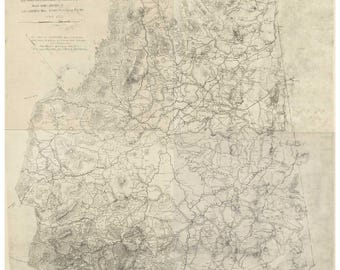 Bedford County  Virginia  1864 -  Old Wall Map  With Homeowners names   Reprint