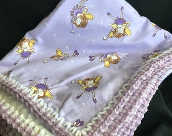 Purple fairy flannel blanket