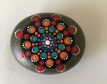 Mandala Stone - Hand Painted Rock- dot painting- meditation- inspiration- decoration