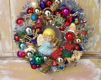 Angel wreath; holiday ornament wreath; Christmas wreath; vintage ornament wreath