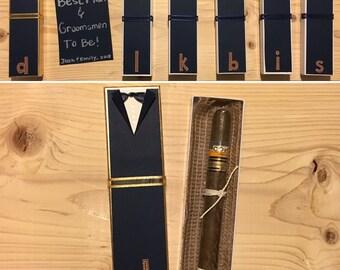 SET OF 5: Groomsmen Cigar Boxes