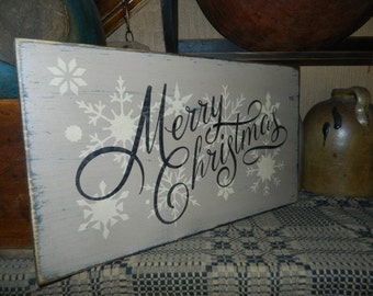 Merry Christmas snowflakes primitive sign