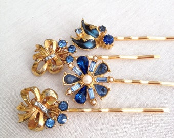 Repurposed vintage earring hair pins, wedding hair accessory, vintage wedding, bridesmaid gift, bridal, something blue, something old, hair