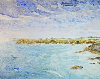 Côte Sauvage, Quiberon III Bretagne original watercolor, home deco France, french art, french painting, french decor, sea painting, sea art