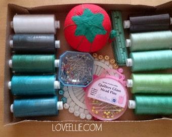 Thread and Pins Gift Set - Greens - Sewing thread, tomato pin cushion, sewing pins, tape measure gift box