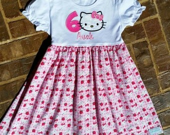 Kitty Dress with Birthday Number and Name