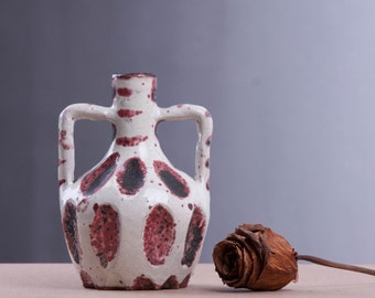 Small Ceramic Vase, Fat Lave Vase, Red White Black, Flower Vase