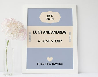 Custom wedding gift - Personalised book cover print - personalised wedding gift - custom anniversary print - book cover poster
