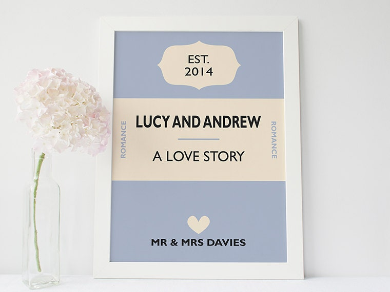 Personalised Wedding Gift Book : Custom wedding gift Personalised book cover print